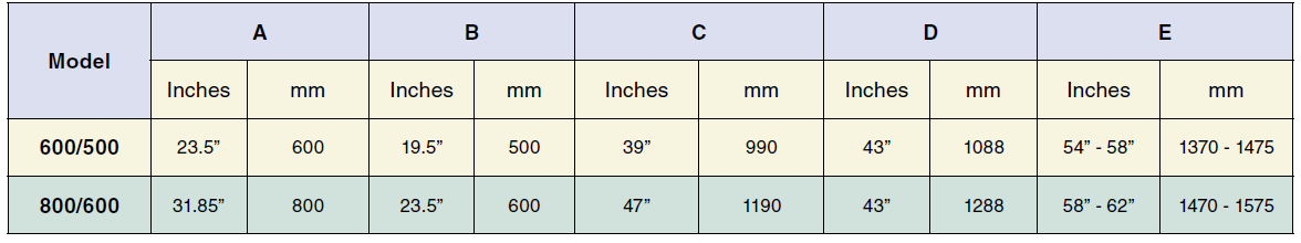 EAM Mosca Sizes Chart